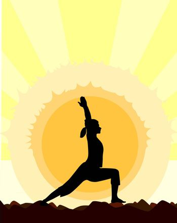 A woman performing a yoga asana against the rising sun.