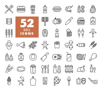Barbecue and bbq grill icon set