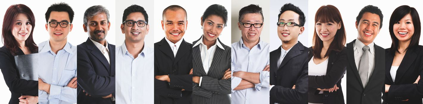 Collage portraits of diverse Asian people and mixed age group of focused business professionals.