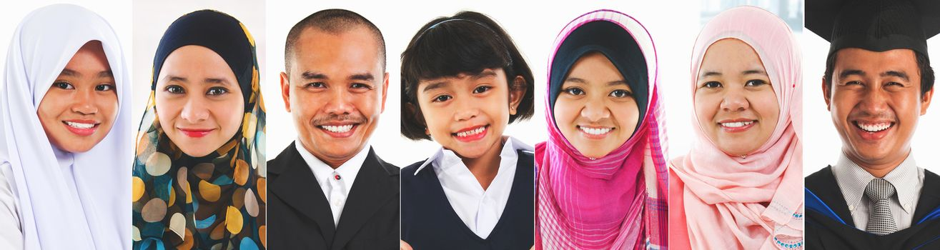 Faces of Southeast Asian Muslim Malay.