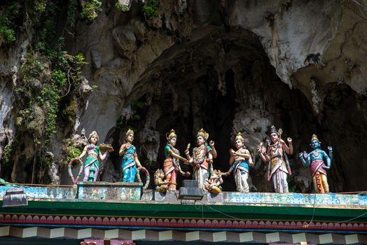 Colorful statue of Hindu God in Batu caves Indian Temple, Kuala Lumpur, Malaysia