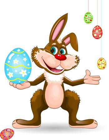 Cartoon easter bunny. Easter eggs. Character for greeting card.