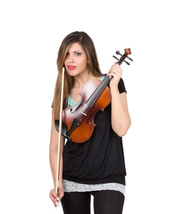 Funny woman with her violin