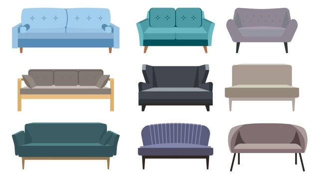 Sofa and couches colorful cartoon illustration vector set. Collection of comfortable lounge for interior design isolated on white background. Different models of settee icons. Comfortable couch