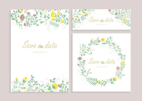 Set of greeting card wirh floral decor. Heartily congratulation, wedding Invitation, floral invite, decorative wreath & frame pattern. Cards save your date card with an elegant garden plant