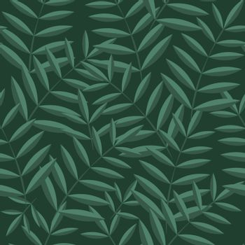 Vector tropical leaves pattern. Seamless botanic hand-drawn texture. Spring floral background summer herbs. Repeated pattern can be used for wallpaper, pattern, backdrop, surface textures.
