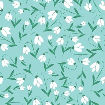 Vector flower pattern. Seamless botanic hand-drawn texture. Spring floral background summer herbs. Repeated pattern can be used for wallpaper, pattern, backdrop, surface textures.