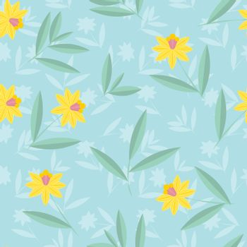 Vector daffodils flower pattern. Seamless botanic hand-drawn texture. Spring floral background summer herbs. Repeated pattern can be used for wallpaper, pattern, backdrop, surface textures.