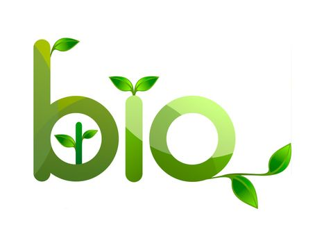 organic word with green leaves on white background - 3d rendering
