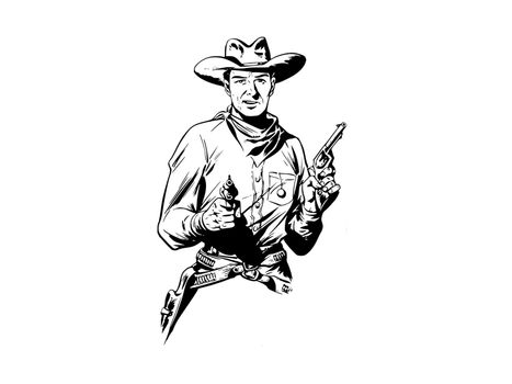 cowboy with two pistol on white background - 3d rendering
