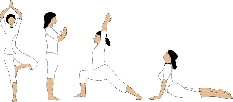 A set of yoga poses with no meshes or similar for easy editing.