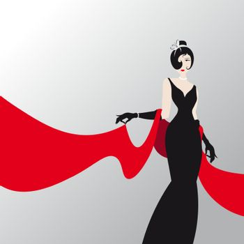 Cute girl with red shawl , fashion silhouette of an woman in a long black dress and red palantine 10 eps