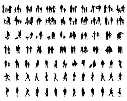 Black silhouettes of people walking, illustration on a white background