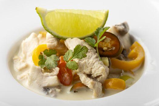 thai tom kha gay soup with lemon