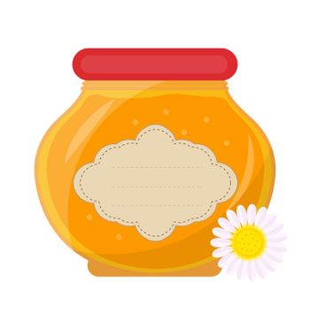 Jar of honey icon, flat style. Isolated on white background. illustration, clip-art.