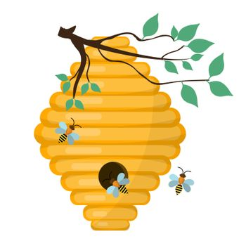 Bee-hive, swarm icon, flat style. Isolated on white background. illustration, clip-art.