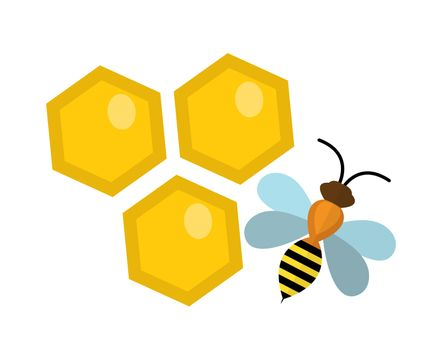 Honeycomb and bee icon, flat style. Isolated on white background. illustration, clip-art.