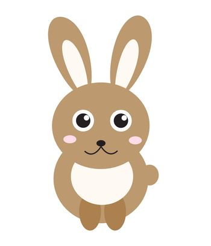 Cute bunny icon, flat style.Rabbit isolated on white background. illustration, clip-art.
