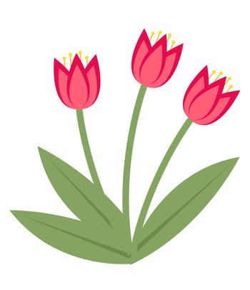 Bouquet of pink tulips icon, flat style. Isolated on white background. illustration, clip-art.