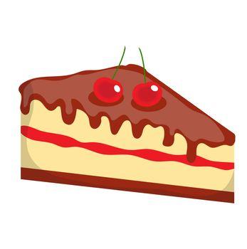 Cheesecake, cake icon, flat, cartoon style.Isolated on white background. illustration, clip-art.