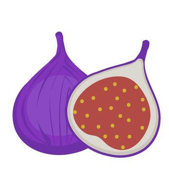 Fresh figs icon, flat, cartoon style.Isolated on white background. illustration, clip-art.