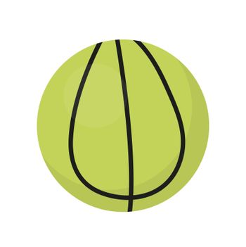 Ball for tennis icon, flat, cartoon style. Isolated on white background. illustration, clip-art.