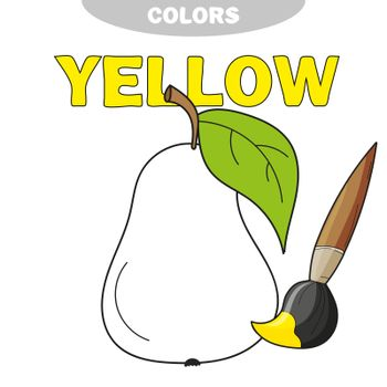 Learn colors. Educational game to color pear vector illustration