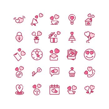 Valentines Day filled outline icon set. Vector and Illustration.