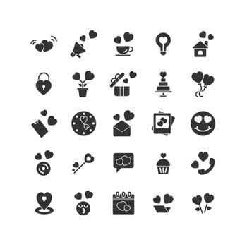 Valentines Day solid icon set. Vector and Illustration.