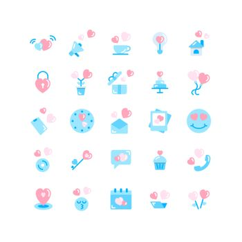 Valentines Day flat icon set. Vector and Illustration.