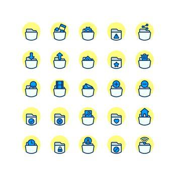 Folder filled outline icon set. Vector and Illustration.