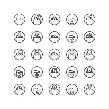 Folder outline icon set. Vector and Illustration.