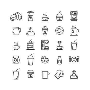 Coffee Shop outline icon set. Vector and Illustration.