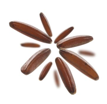 Raw brown rice levitates on a white background.