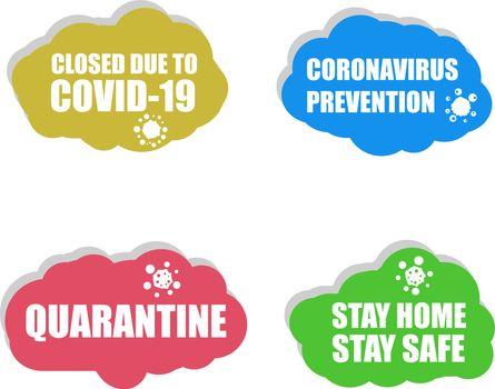 Coronavirus icon. COVID-19 icon. Coronavirus prevention. Covid 19 quarantine. Closed due to COVID 19. Sign set isolated on white background