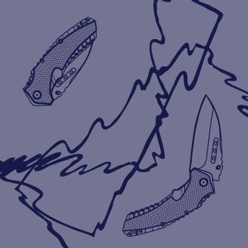 Illustration of open and closed folding knife on blue grunge background