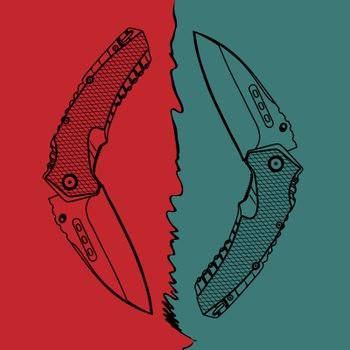 Illustration of two contour folding knives on red and turquoise background