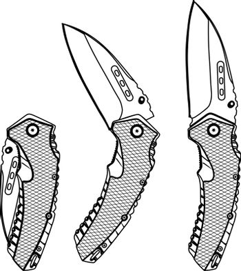 Isolated contour illustration of folding knife in three different positions