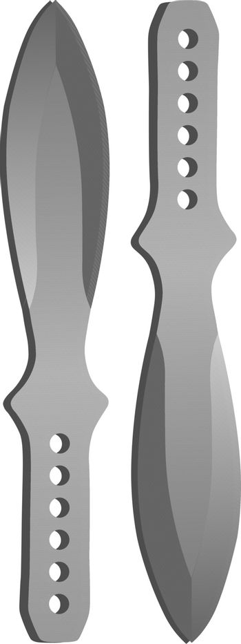 Illustration of two isolated reaistic steel grey throwing knives or kunai