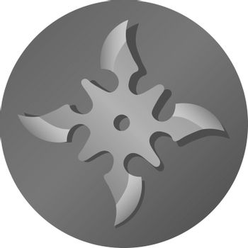 Isolated grey icon with realistic steel grey shuriken in the circle
