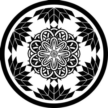 Tattoo or print design with abstract circle with geometric flowers and entwined tracery in tribal celtic style