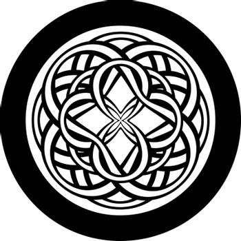 Print or tattoo design with abstract circle with entwined tracery in tribal celtic style