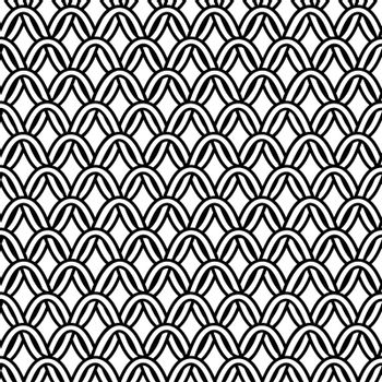 Black and white seamless pattern with abstract chain-mail in tribal celtic style