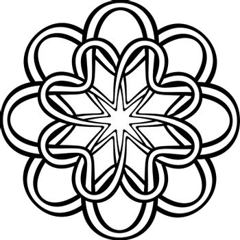 Tattoo or print design with abstract entwined knotted flower in tribal celtic style