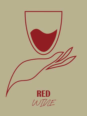 Minimal line art with hand and red wine glass on beige background