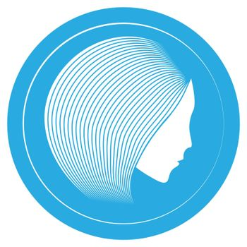 Blue icon with simple profile of woman with linear hair