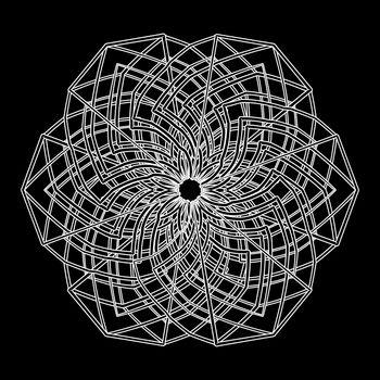 Illustration or print design white contour geometric mandala flower on black background