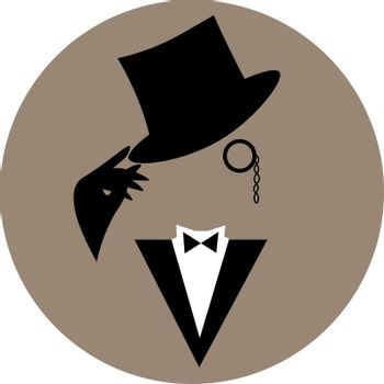 Minimal illustration of faceless vintage gentleman in tuxedo and hat with monocle and black gloves