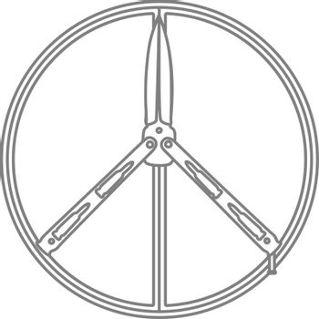 Simple grey contour illustration of peace sign with butterfly knife