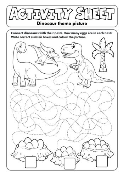 Activity sheet dinosaur theme 1 - eps10 vector illustration.